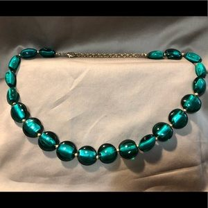 Jewelry - Teal glass bead and gold necklace